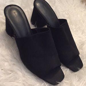 Zara black suede leather mules